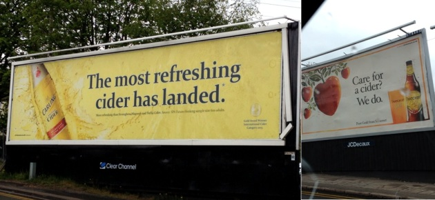 Billboard advertising for Carling Cider and Thatchers