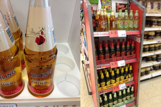 Display panels showing the range of ciders available in Tesco Express