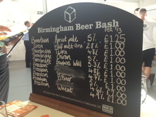 "alt=""craft beer chalk board at birmingham beer bash"""